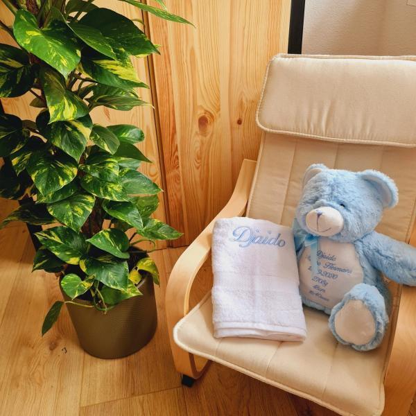 Blauwe beer met geboorte gegevens