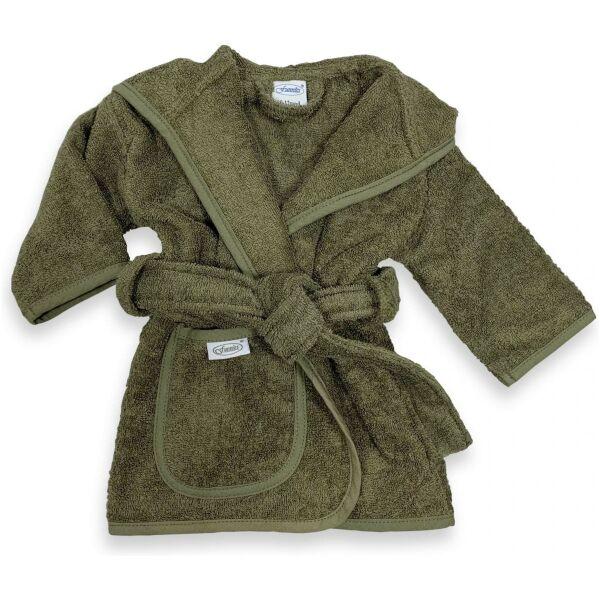 Badjas met naam mos groen