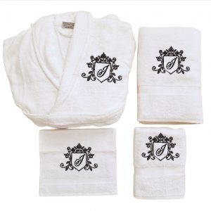 Badjas Set met monogram J royal