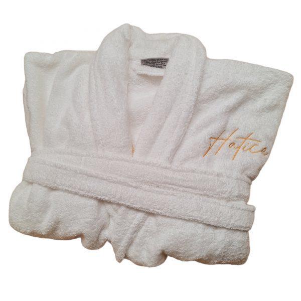 Badjas wit met naam geborduurd