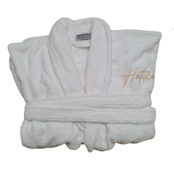 Badjas wit met naam geborduurd4