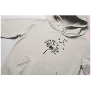 hoodie met geborduurde paardebloem